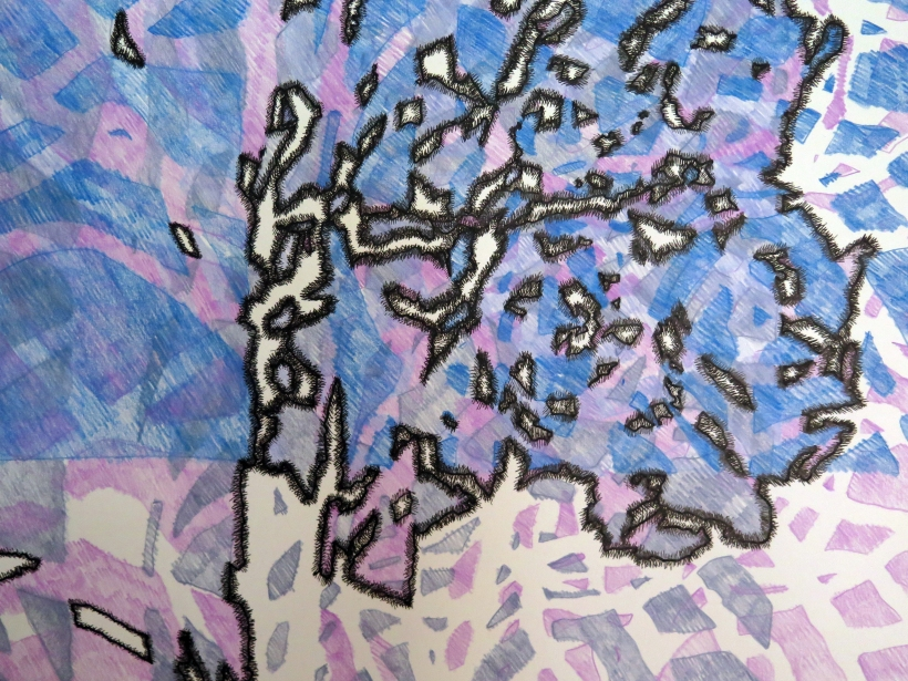 Lyn Horton, detail left Tree Kimono, 2019, 90 in x 70 in, ink and colored pencil on rag paper (several parts)