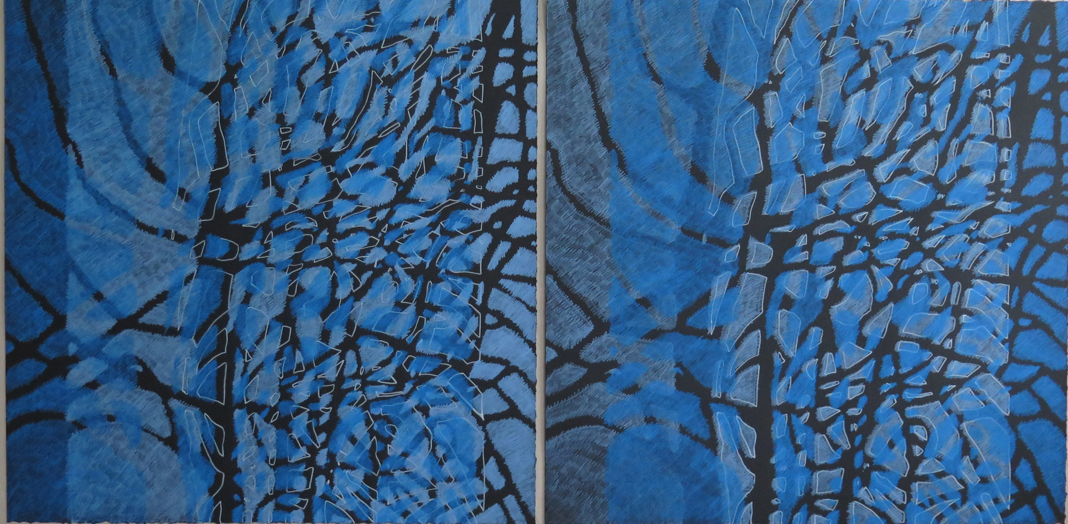 Lyn Horton Shift Series, 2019-20, blue violet light and sky blue light and sky blue light and blue violet light pair, 2020, 22.25 in h x 45 in w, colored pencil on black rag paper