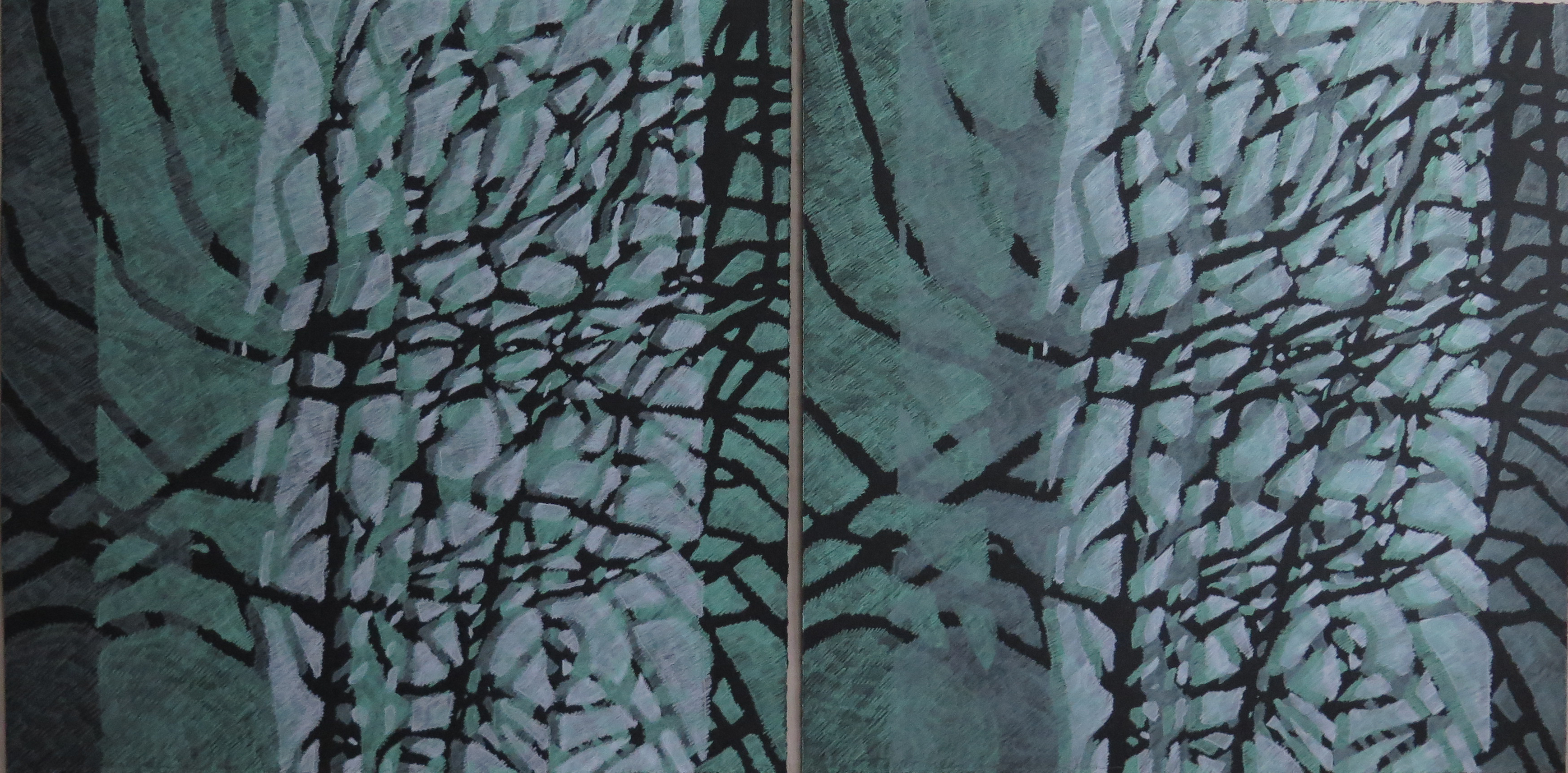 Lyn Horton Shift Series, 2019-20, celadon green and light green and light green and celadon green pair, 2020, 22.25 in h x 45 in w, colored pencil on black rag paper