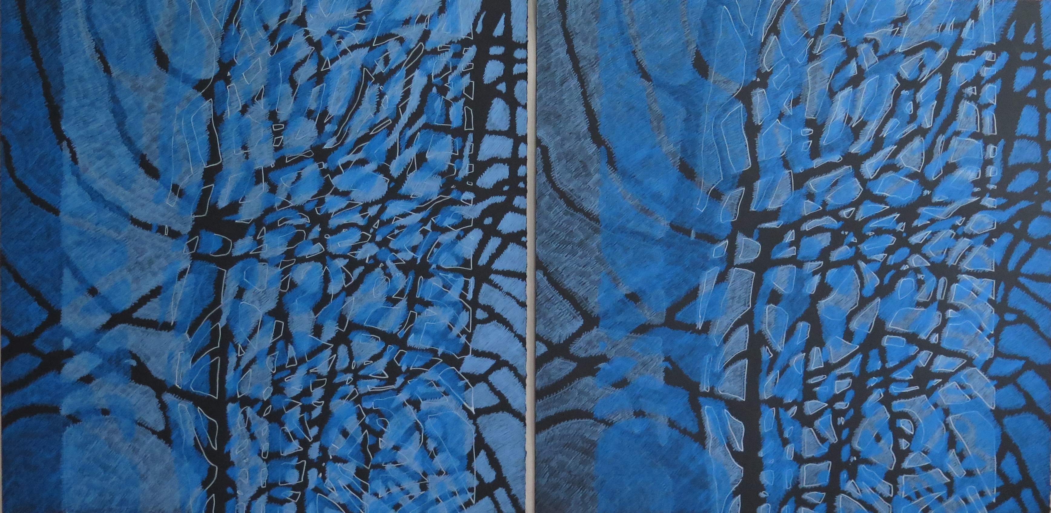 Lyn Horton Shift Series, 2019-20, cerulean blue light and cerulean blue and cerulean blue and cerulean blue light pair, 2020, 22.25 in h x 45 in w, colored pencil on black rag paper