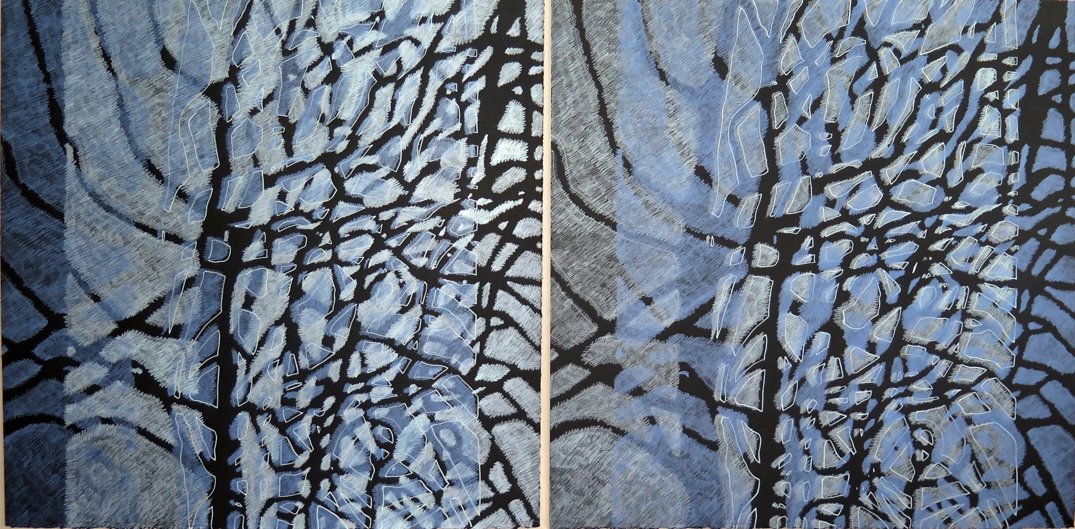 Lyn Horton Shift Series, 2019-20, periwinkle and sky blue light, sky blue light and perwinkle pair, 2020, 22.25 in h x 45 in w, colored pencil on black rag paper