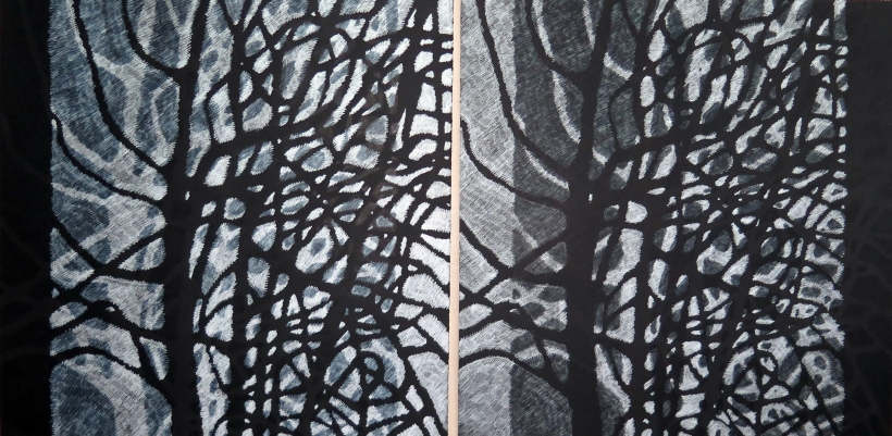 Lyn Horton Shift Series, 2019-20, white on black, black on white pair, 2020, 22.25 in h x 45 in w, colored pencil on black rag paper